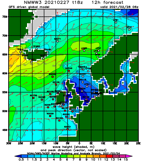North Atlantic wave height and direction day 0.5