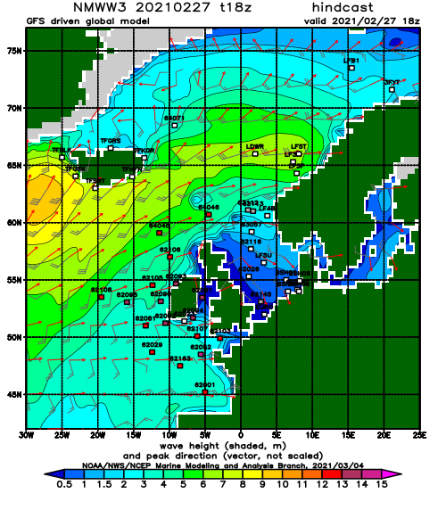 North Atlantic wave height and direction day 0